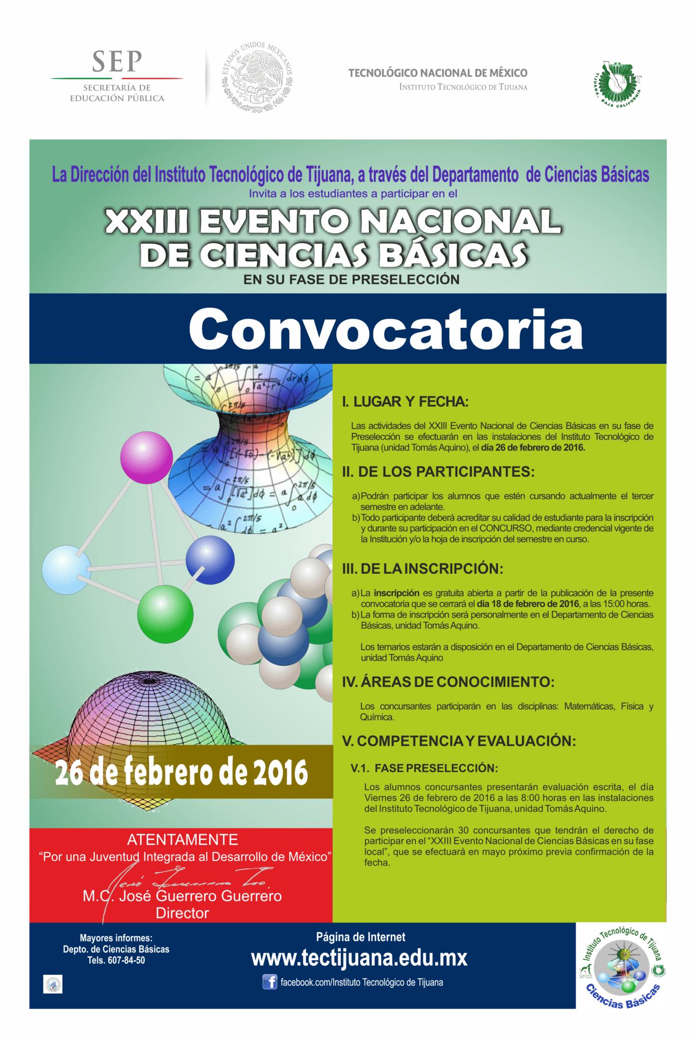 CONVOCATORIA XXIII Evevto Nacional de Ciencias Basicas