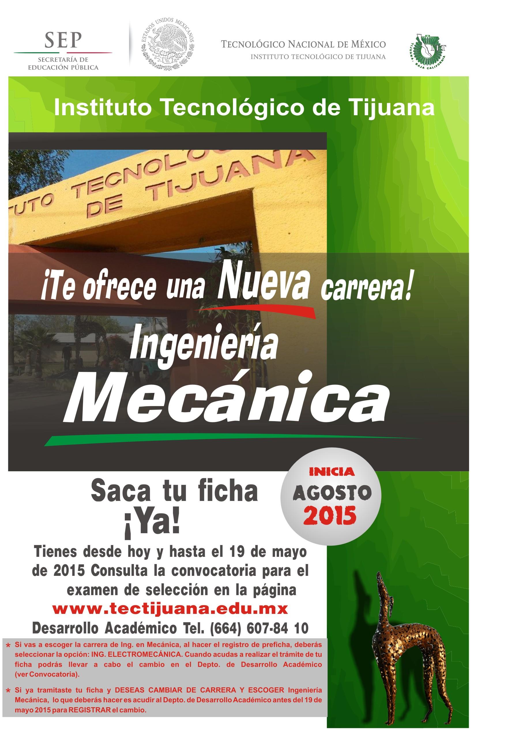 Instituto tecnol gico de tijuana mecanica for Licenciaturas sabatinas