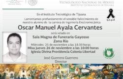 Esquela Alumno Oscar Manuel Ayala Cervantes