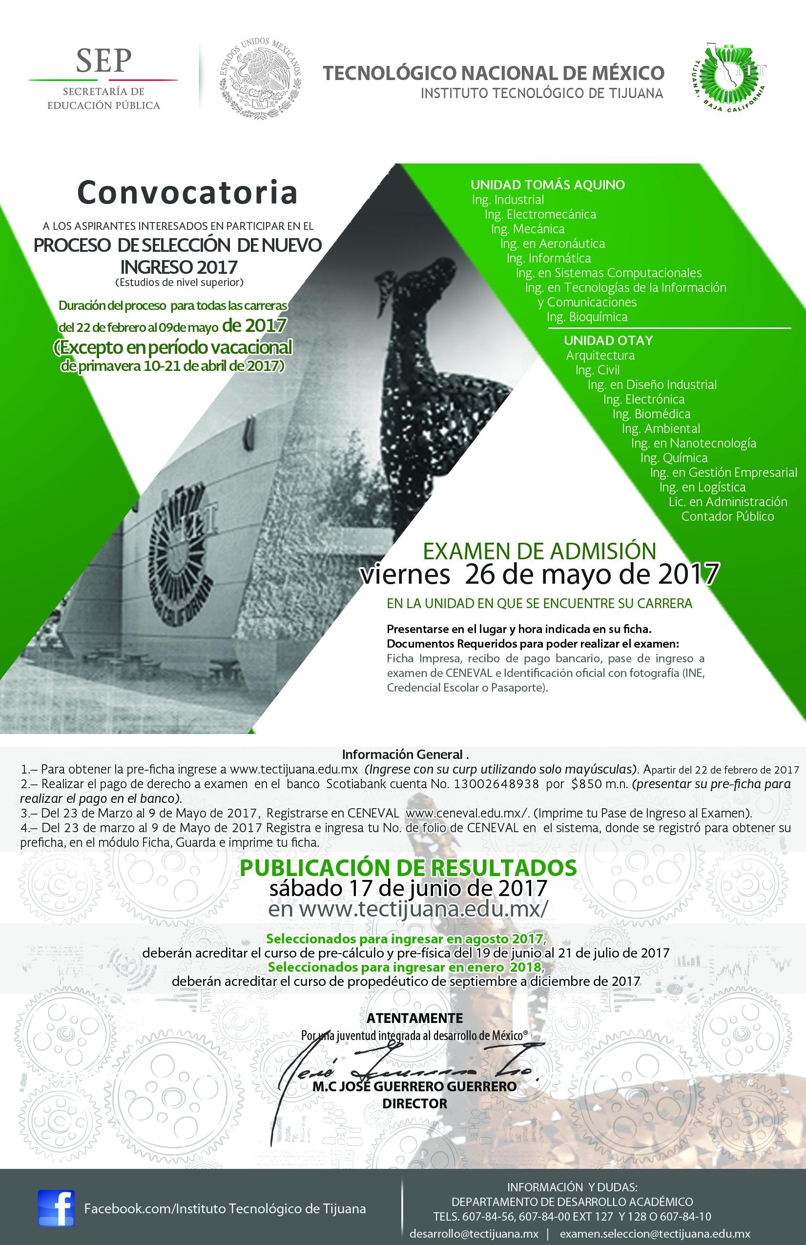 Instituto tecnol gico de tijuana convocatoria a proceso for Convocatoria de docentes 2017
